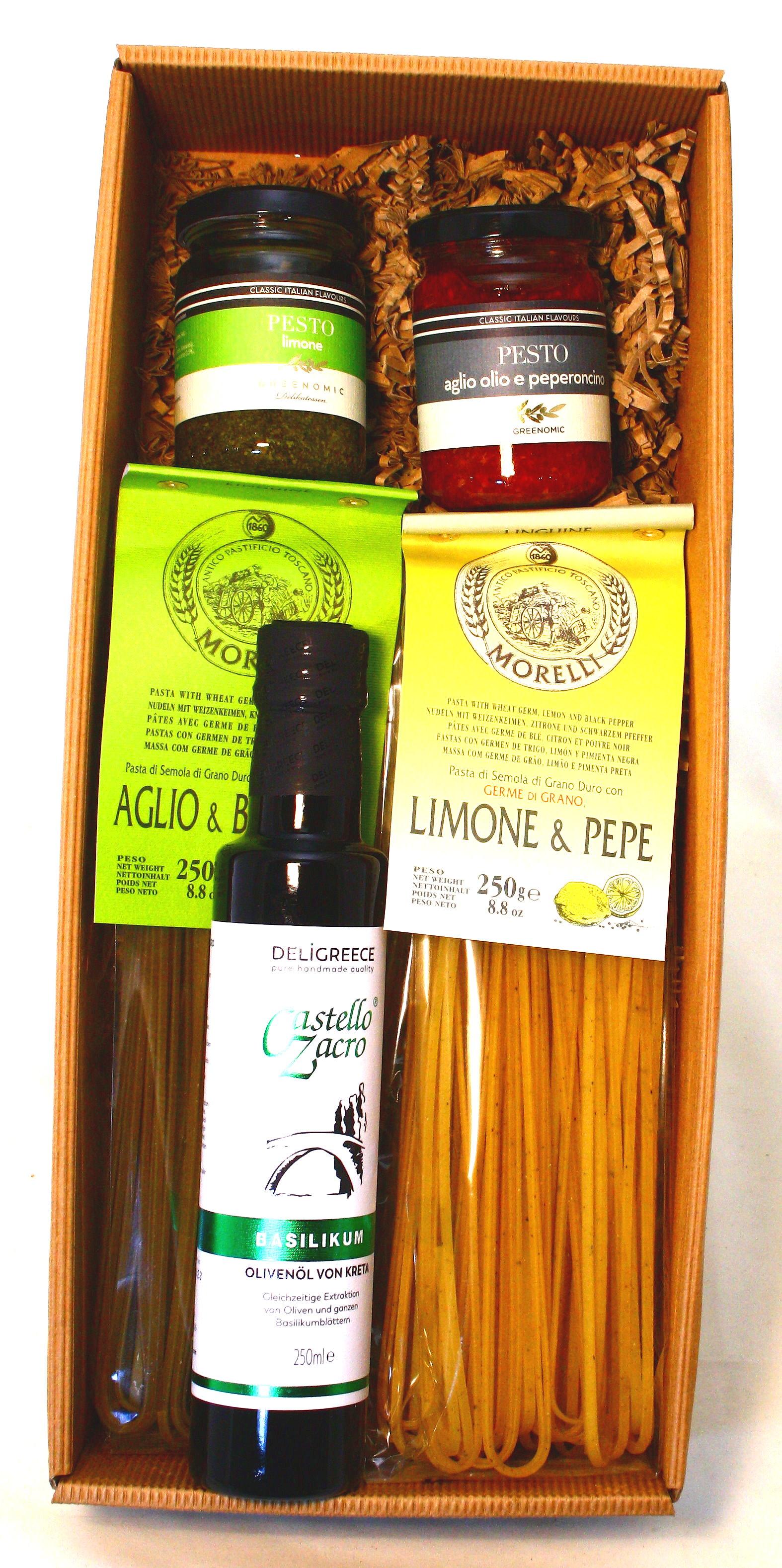 "Präsentkarton ""la Dolce Vita"" Linguine, Pesto & Olivenöl"