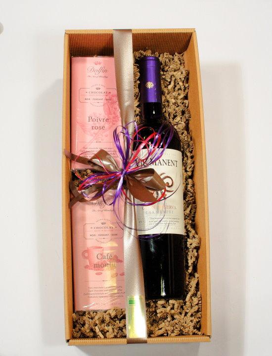 Präsentkarton Wein und Schokolade