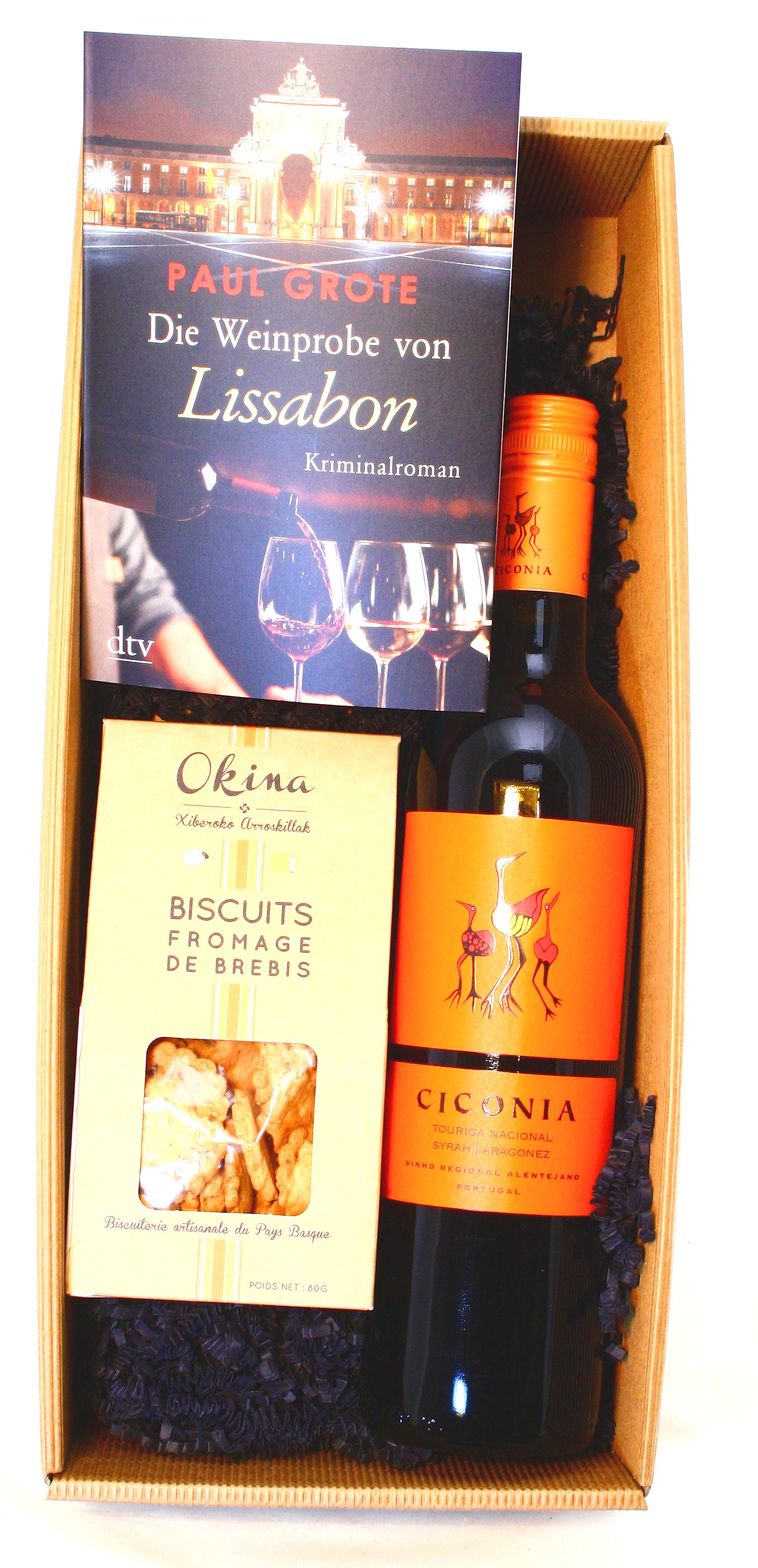 """Präsentkarton """"Schmökern und Genießen"""" Weinkrimi Lissabon mit Rotwein und Schafskäsecracker"""