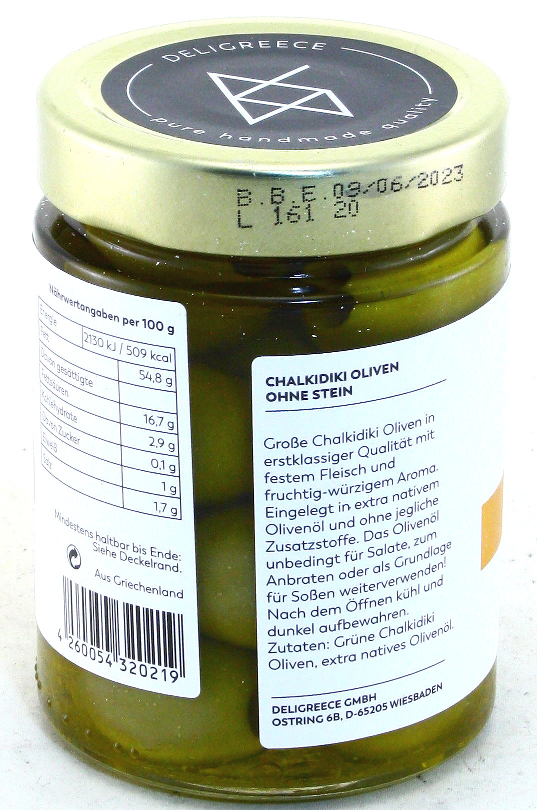 Premium Chalkidiki Oliven mit Feta-Käse - Oliven in extra nativem Olivenöl, ohne Stein