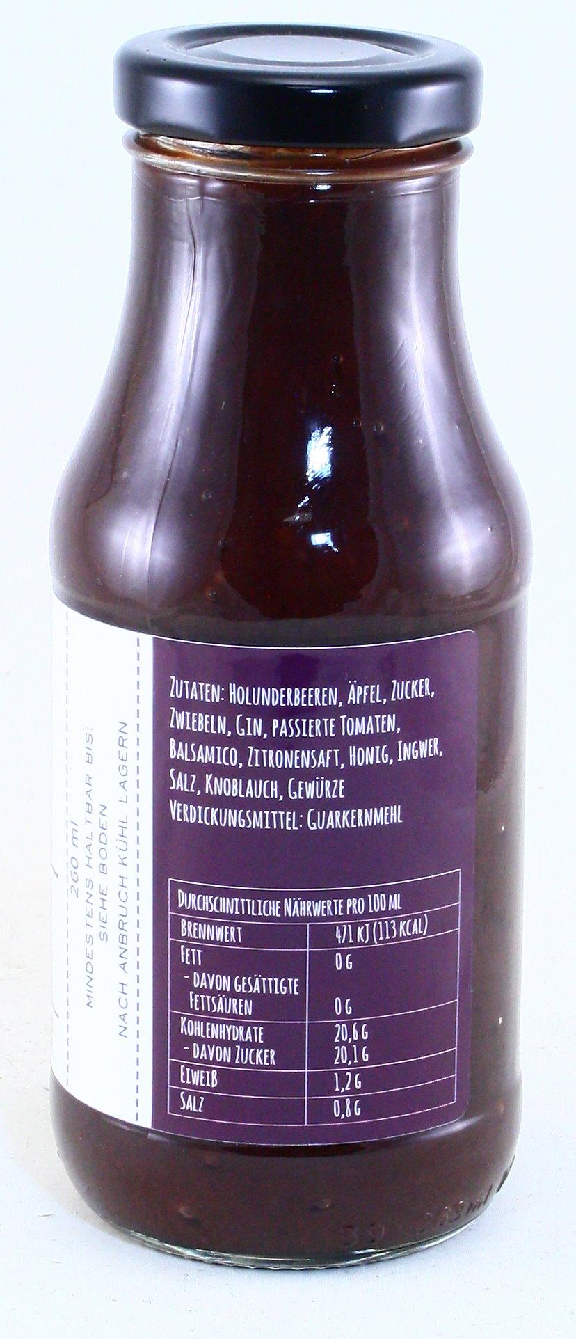 BBQ-Sauce mit bergischem Gin, Oberbergisches Produkt, Genussmanufaktur Königskind