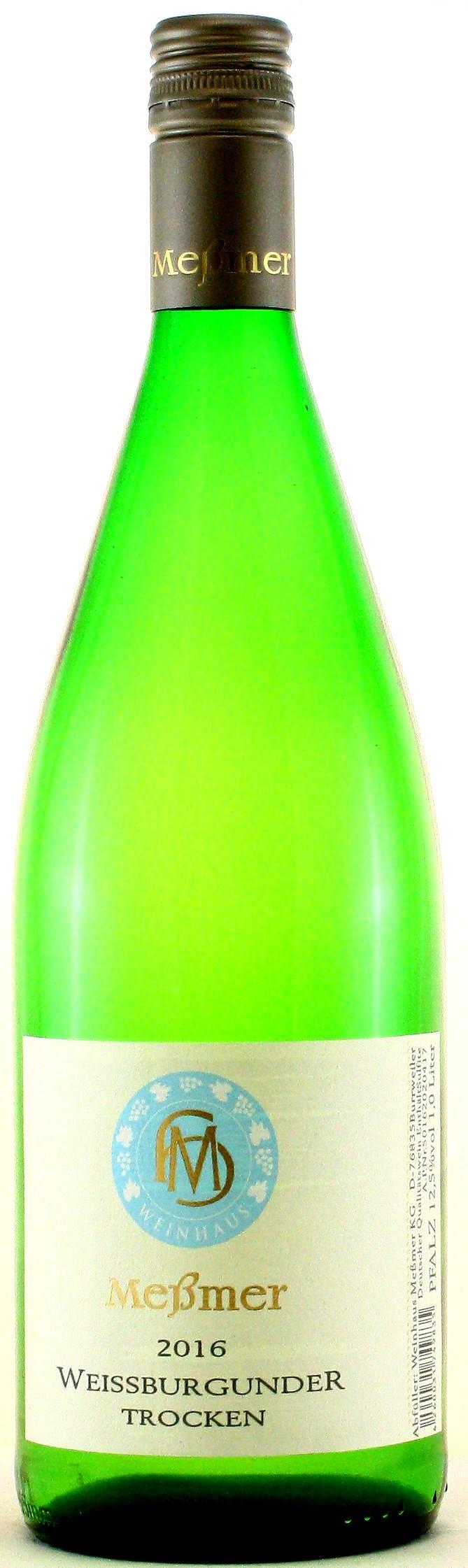 1 Liter Meßmer Weißburgunder trocken, Meßmer - Pfalz